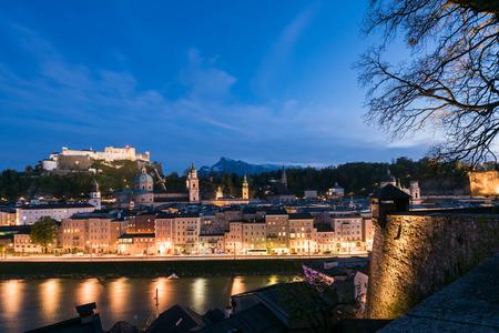 salzach: Night scene of Fortress Hohensalzburg of Salzburg
