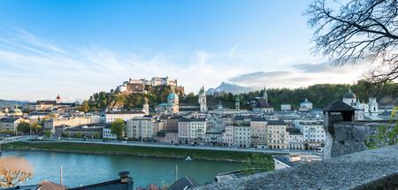 salzach: Landscape scene of Fortress Hohensalzburg of Salzburg with Salzach river line Stock Photo