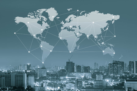 communications: City with world map and conneting line, globalization conceptual, global transport concept