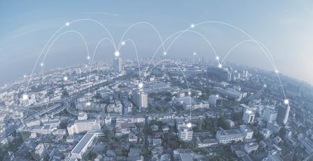 Conncection ライン、概念技術、インターネットのグローバル化の概念と都市
