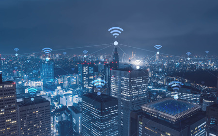 Cityscape with wi-fi connection conceptual,information communication technology concept Stock fotó - 65939242