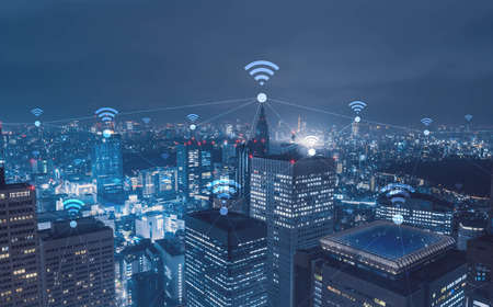 Cityscape with wi-fi connection conceptual,information communication technology concept Stock fotó - 65939544