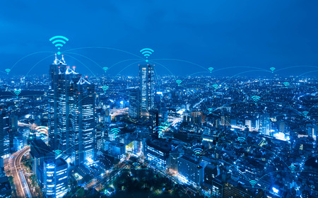 Cityscape with wifi connection conceptual,information communication technology concept