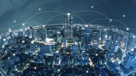 City with conncetion line, technology conceptual, internet globalization concept