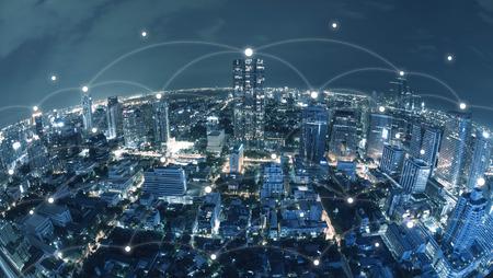 Stad met conncetion lijn, technologie conceptueel, internet globalisering concept Stockfoto