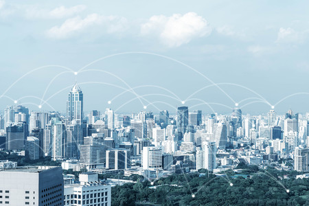 Blue high-tech tone of cityscape conneted line with wifi sign, technology concept, internet of things conceptual Standard-Bild