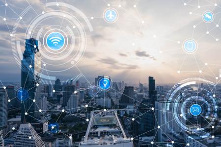 都市景観のブルートーンのハイテク技術概念、概念的なもののインターネット wifi 記号ラインを接続 写真素材