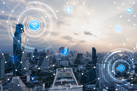 Blue high-tech tone of cityscape connected line with wifi sign, technology concept, internet of things conceptual Banque d'images