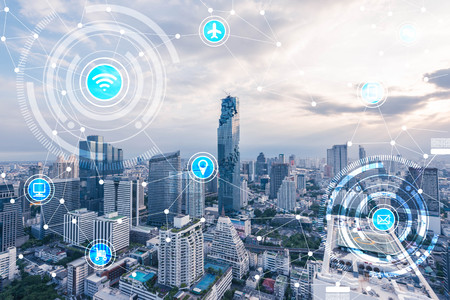 icons of wifi, internet, communication, travel, computer and kinds of technology for smart city conceptual 写真素材