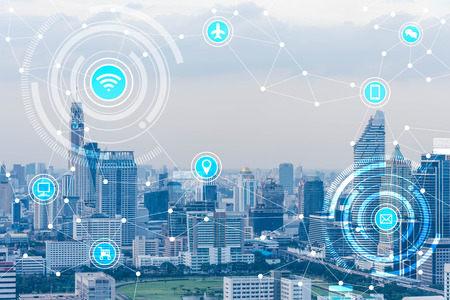 Blue high-tech tone of cityscape connected line with wifi sign, technology concept, internet of things conceptual Stockfoto