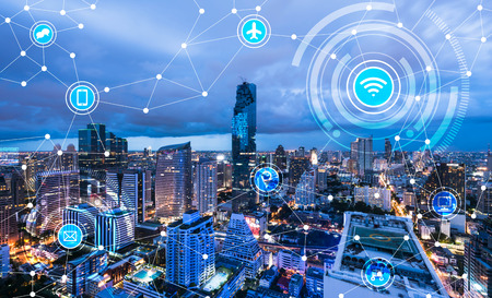 wired: Cityscape connected line, technology concept, internet of things conceptual Stock Photo