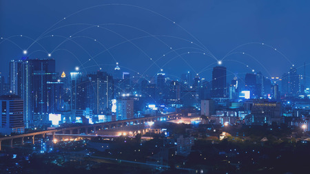 City with connected line, internet of things conceptual 스톡 콘텐츠
