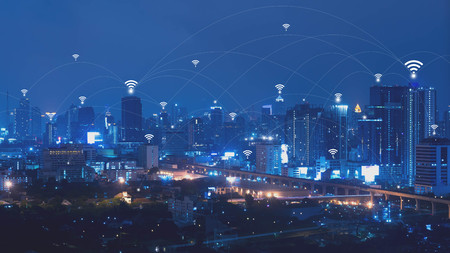 City with connected line, internet of things conceptual Stockfoto