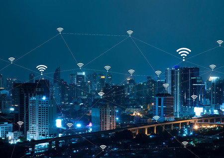 City with connected line, internet of things conceptual Standard-Bild