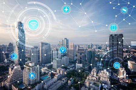 slimme stad en draadloze communicatie netwerk, internet van de dingen (internet van dingen), ICT (informatie- en communicatietechnologie) Stockfoto