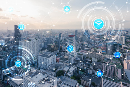 smart city and wireless communication network, IoT(Internet of Things), era of internet, internet of every things, internet in every day lifes Фото со стока - 66661833