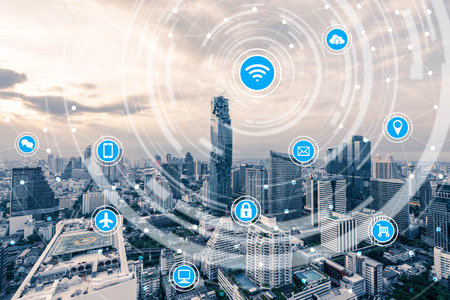 smart city and wireless communication network, IoT(Internet of Things), ICT(Information Communication Technology) Stock Photo - 66661836
