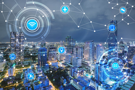 smart city and wireless communication network, IoT(Internet of Things), era of internet, internet of every things, internet in every day lifes Stok Fotoğraf - 66661798