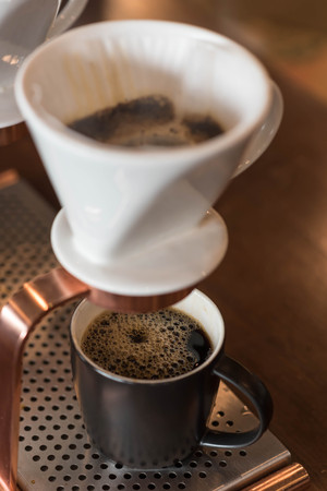 dripped: Dripped Coffee finished ready to serve, fresh coffee in coffee shop Stock Photo