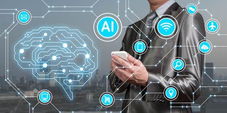 Hombre de negocios use el teléfono inteligente con los iconos de AI junto con los iconos de la tecnología, conceptual artificial inteligente