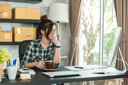 Young entrepreneur, teenager business owner work at home