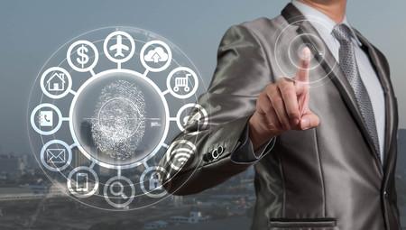 Businessman pressing on digital virtual screen, human resource management concept Stok Fotoğraf