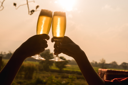 Hands of two people toast champange celebrating under afternoon sunlight, celebrating occation 스톡 콘텐츠