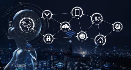 AI, Künstliche Intelligenz als Konzept für Technologie der nächsten Generation Standard-Bild