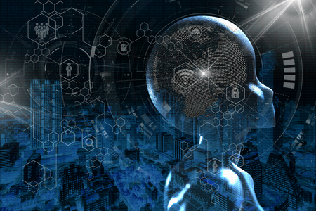 AI, intelligenza artificiale concettuale della tecnologia di prossima generazione