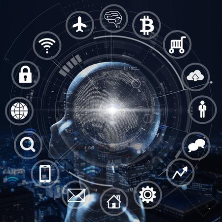 AI, inteligencia artificial conceptual de tecnología de próxima generación.