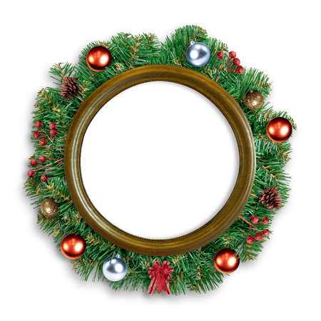 Golden frame mirror with pine branch decorated with christmas accessory on white background Stock Photo