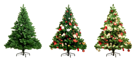 Christmas tree on white background three version, Pine with no decoration, decorated and lighten decorated christmas tree 写真素材