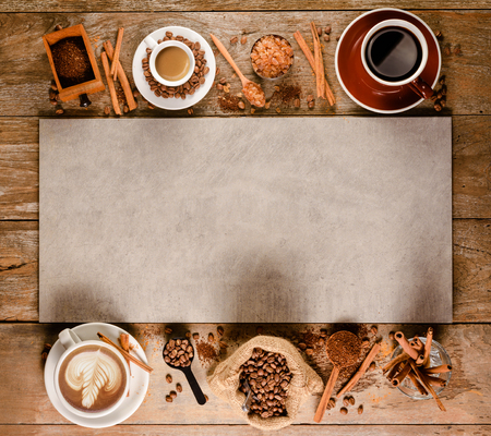 Banner of coffee with espresso, americano, latte with roasted coffee bean and sugar with equipment