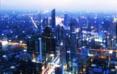 Tono de alta tecnología de la ciudad y la línea de conexión para la ciudad inteligente conceptual