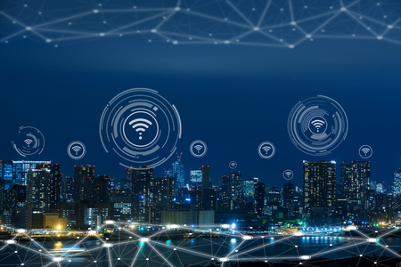 Cityscape with connecting dot technology of smart city conceptual