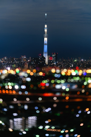 Tokyo sky tree, the tallest building in Japan with bokeh from double exposure technique