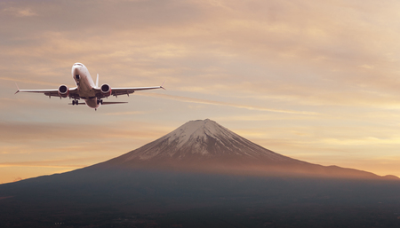 Top of Fuji-san, the highest mountain in Japan with airplane, view from rope way at Lake Kawaguchiko