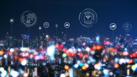 Paesaggio urbano con tecnologia a punti di collegamento di smart city concettuale