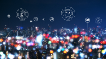 Pejzaż miejski z technologią łączenia kropek konceptualnego inteligentnego miasta