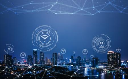 Paisaje urbano con tecnología de puntos de conexión de ciudad inteligente conceptual