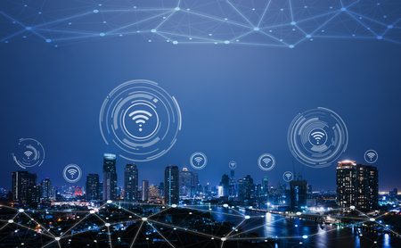 Stadsgezicht met verbindende punttechnologie van conceptuele slimme stad