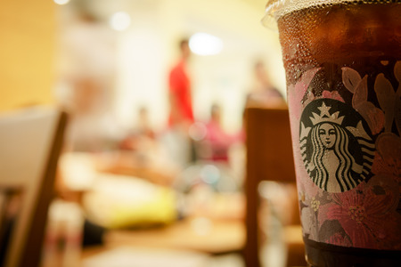 BANGKOK, THAILAND- 28 February 2019 :New cup of Starbucks for sakura season in spring contain with ice americano