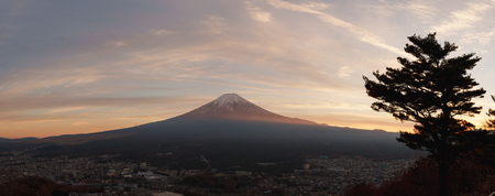 Panaroma view of Fuji-san, the highest mountain in Japan, from rope way at Lake Kawaguchiko