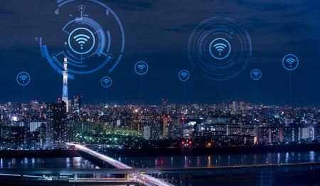 Smart city conceptual, cityscape with wifi icon