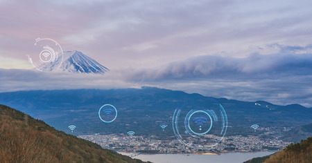Landscape of Fuji with wifi icon cover both city and country area