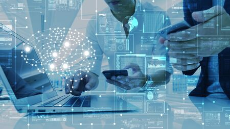 AI, artificial intelligence conceptual with computer interface of business team, big data management use AI technology computing