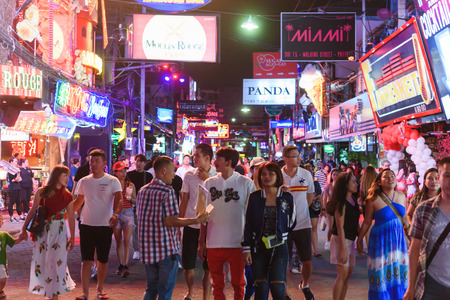 CHONBURI, THAILAND - AUGUST 17th, 2019: Walking street at night in Pattaya with night clubs, bars and restaurant, a very popular tourist site in Thailand Editorial