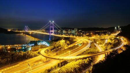 Tsing ma bridge at twilight