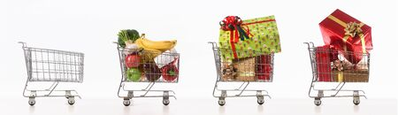 Row of shopping cart with empty, full of fruit and vegetable and gift box on white background