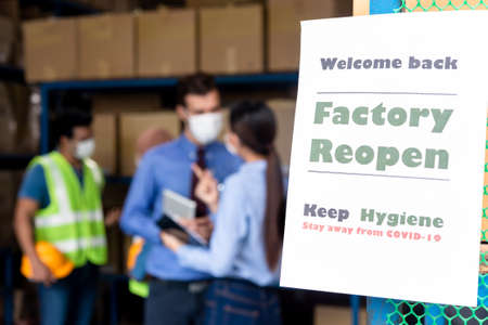Sign for reopen factory after lock down from covid-19 situation Stock fotó